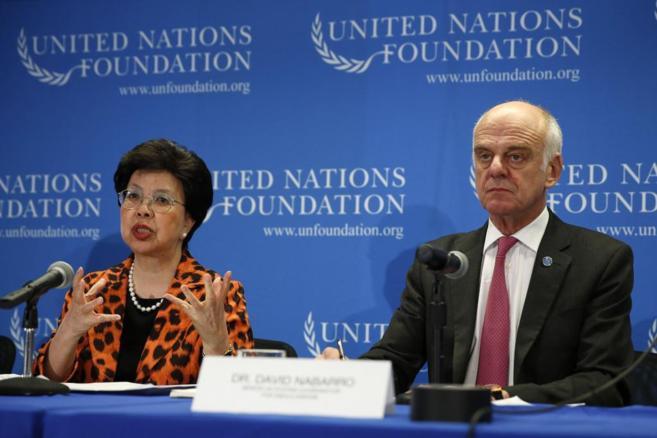Margaret Chan y David Nabarro, durante su intervención.