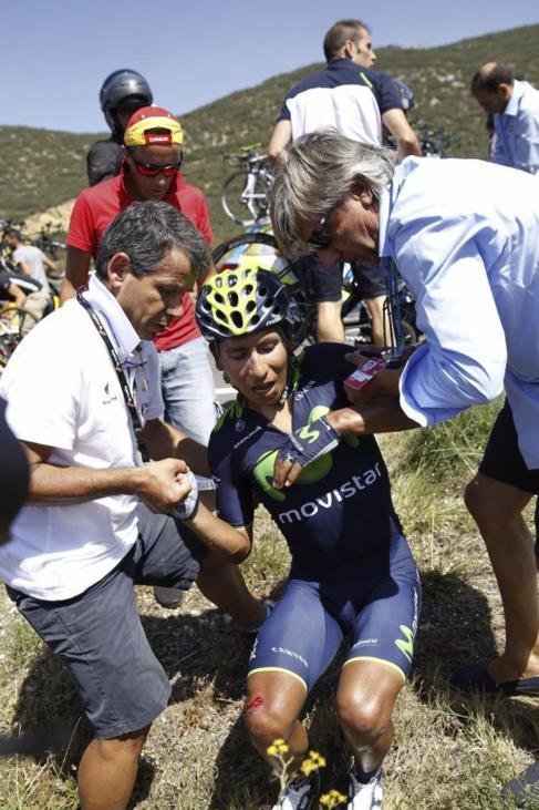 Nairo Quintana, tras la caída sufrida en la undécima etapa.