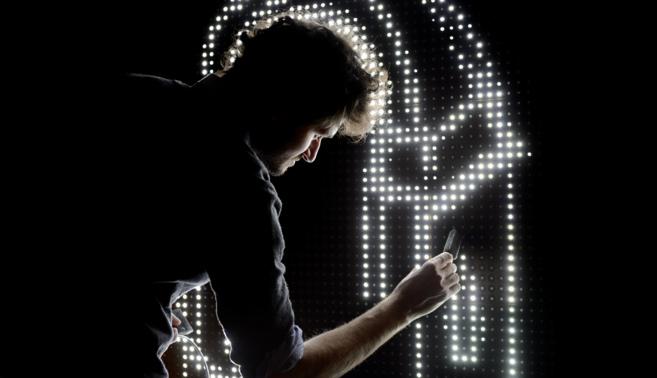 Graffiti de luz visto en la inauguración del Ars Electronica.