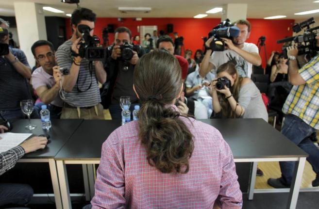 El líder de Podemos, Pablo Iglesias, en una conferencia en el...