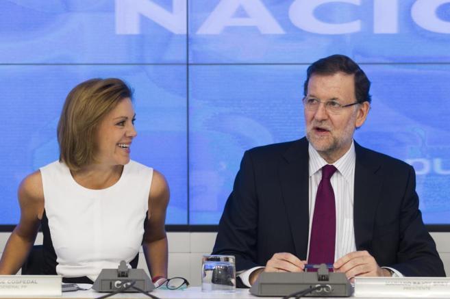 María Dolores de Cospedal y Mariano Rajoy, en el Comité Ejecutivo...