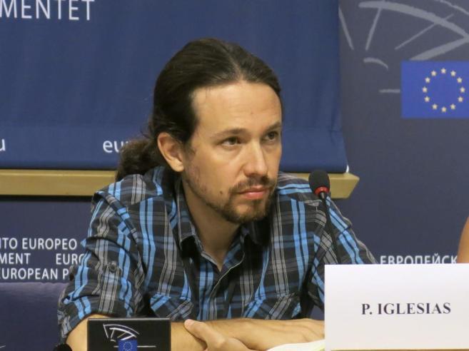 Pablo Iglesias, en la rueda de prensa celebrada en Bruselas.