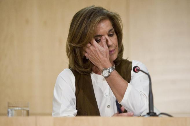 La alcaldesa de Madrid, Ana Botella, durante la comparecencia por el...