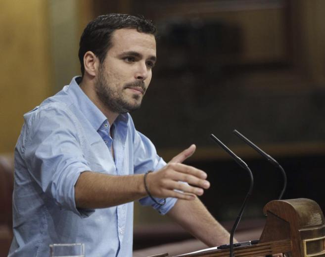 Alberto Garzón, durante su intervención en el Congreso.