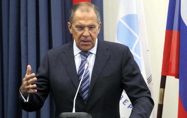 El titular de Exteriores ruso, Serguei Lavrov, durante un acto.