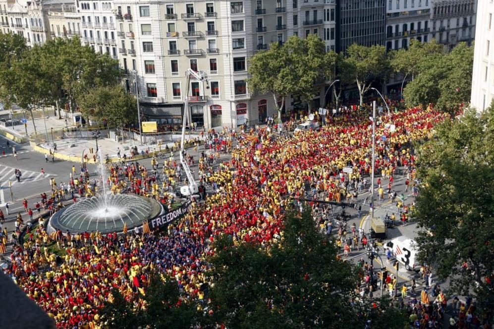 Aspecto de la Vía Catalana minutos antes de la cita