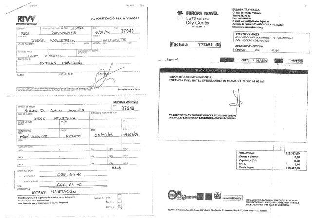 Facturas de gastos presentadas por Jesús Wolstein y Víctor Llanes.