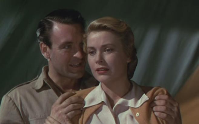 Donald Sinden y Grace Kelly en un momento de 'Mogambo', de...