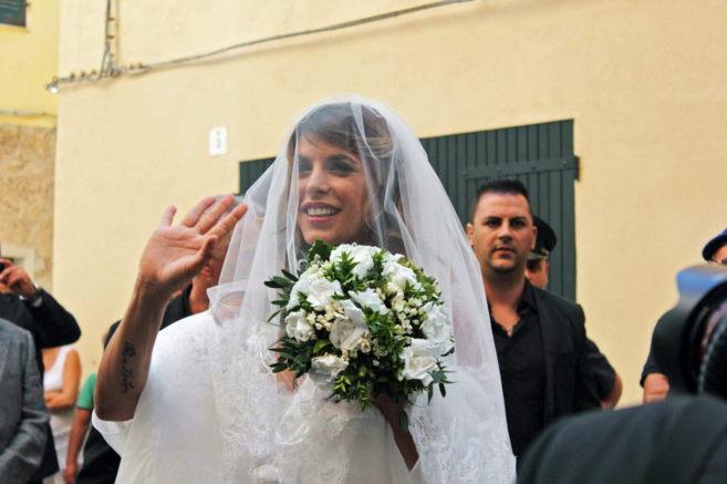 Elisabetta Canalis, ayer en su boda.