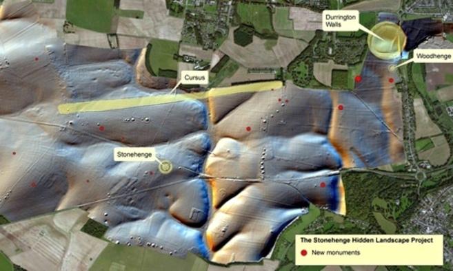 Mapa de los nuevos monumentos encontrados alrededor de Stonehenge.