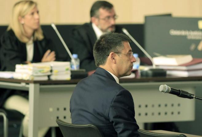 El presidente del FC Barcelona, Bartomeu, durante su declaración en...