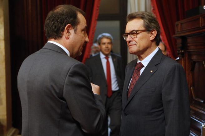 El president Artur Mas y el conseller de Interior Ramón Espadaler en...
