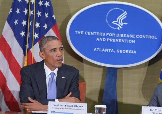 Obama durante en la sede de los Centros de Control y Prevención de...
