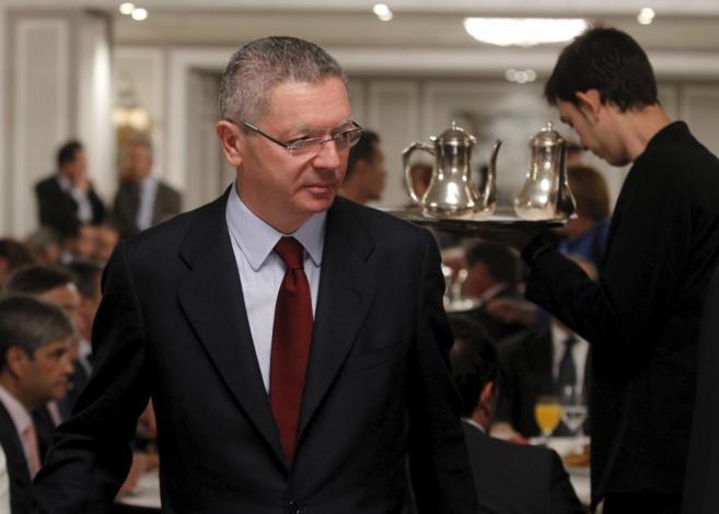 El ministro de Justicia, Alberto Ruiz-Gallardón durante un acto en...