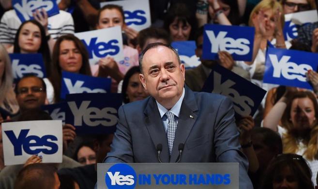El ministro principal de Escocia, Alex Salmond, durante el acto de...