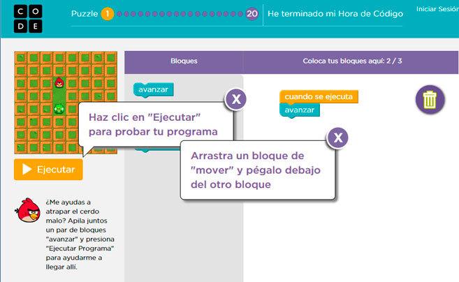 Tutorial de programación para niños de Code.org, que promueve una...