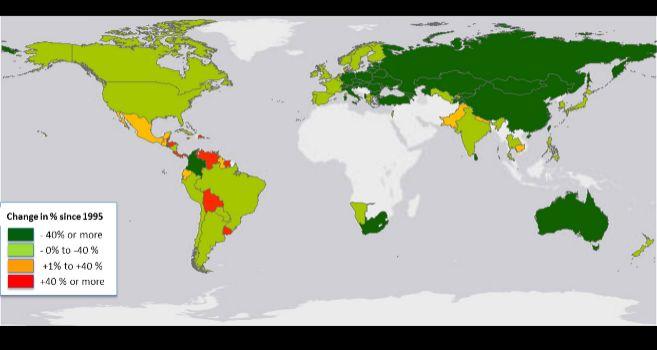 Este mapa muestra los cambios en la tasa de homicidios global entre...