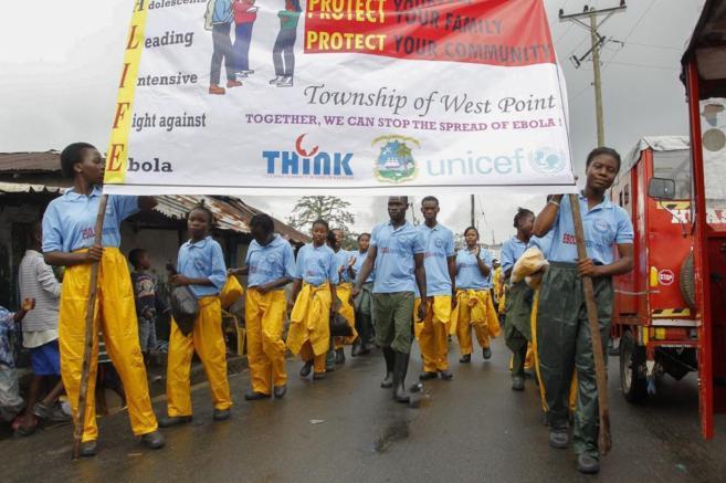 Campaña de sensibilización en Monrovia.