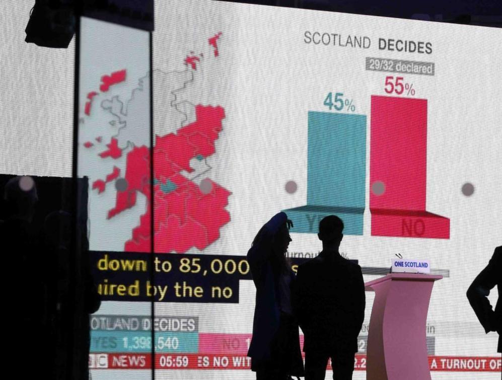 Una pantalla muestra los resultados de la consulta en Edimburgo.