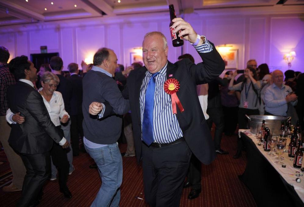 Los unionistas celebran el triunfo en Glasgow (Escocia).