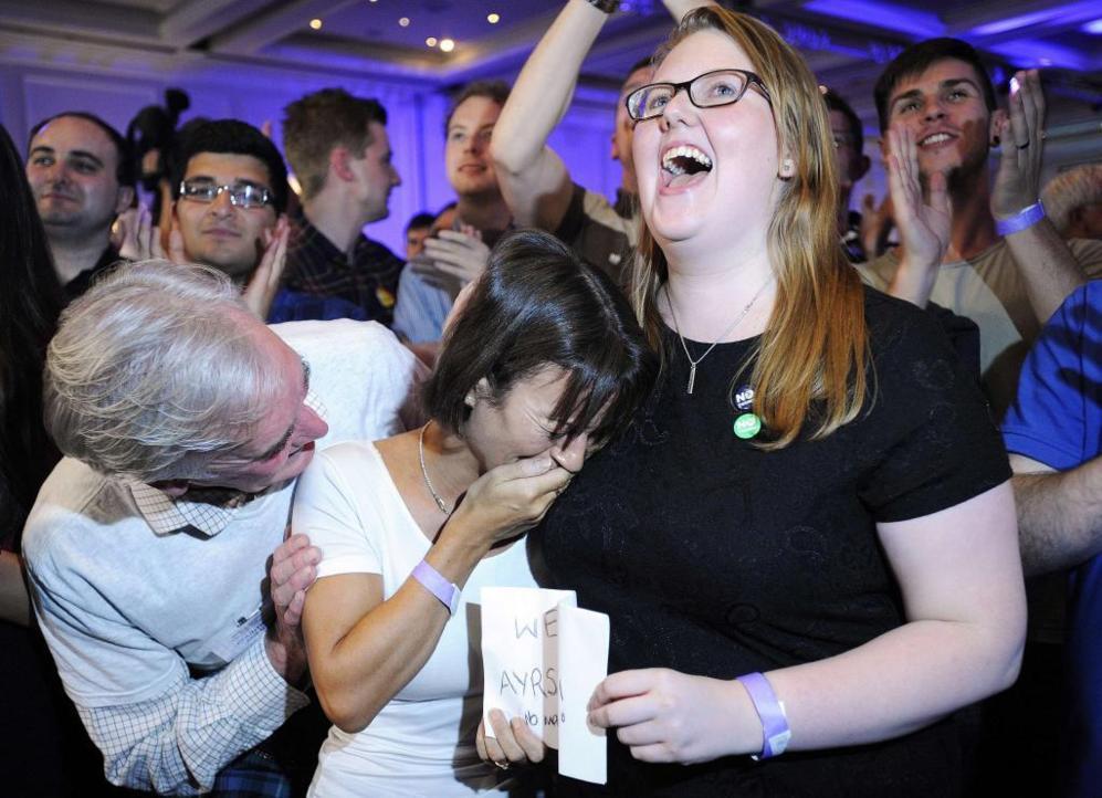 Emoción en la sede unionista en Glasgow (Escocia).