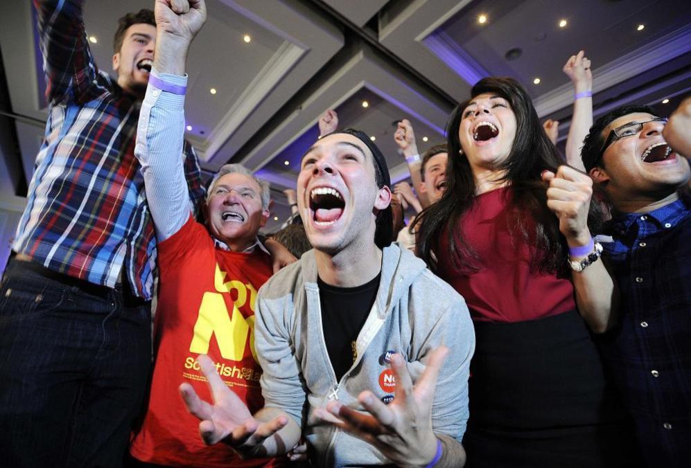 Los unionistas, eufóricos ante la victoria en Glasgow (Escocia).