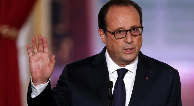 François Hollande en la comparecencia donde anunció el ataque contra...