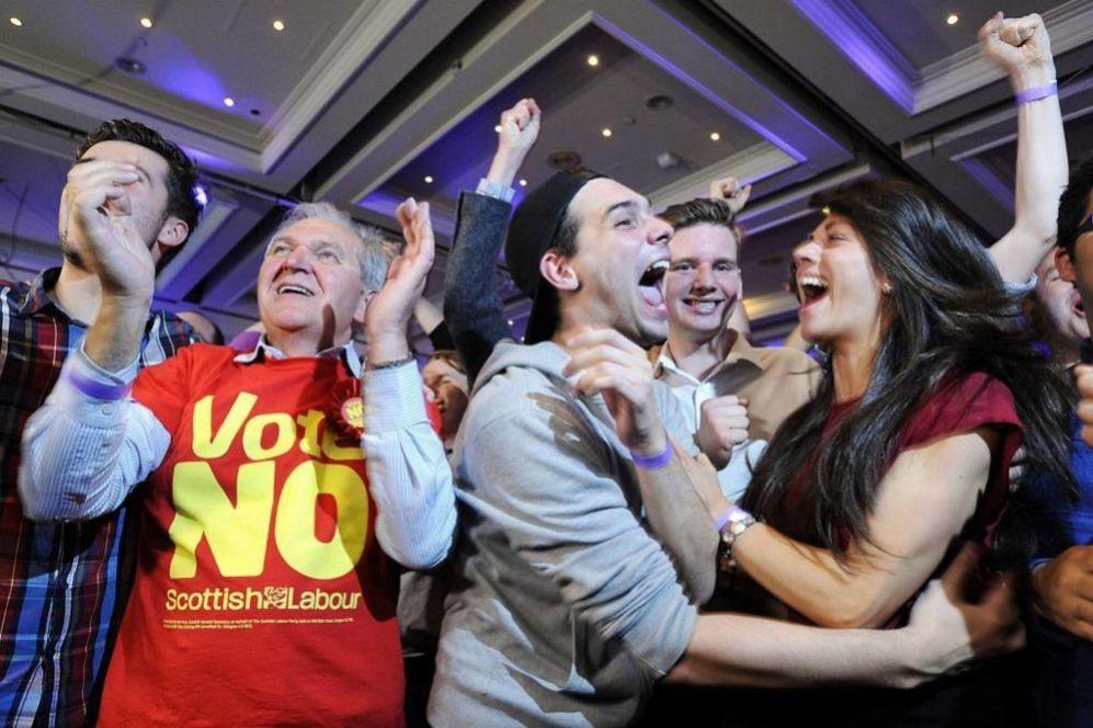 Partidarios del 'no' celebran la victoria en Glasgow.