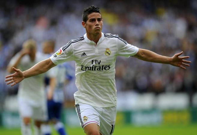 James celebra su gol en Riazor, el 0-2 frente al Deportivo.