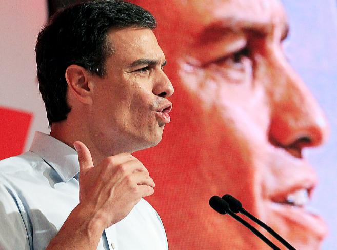 Pedro Sánchez, secretario general del PSOE, ayer, en el congreso del...