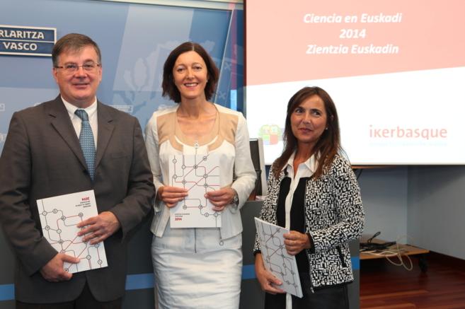 Fernando Cossío, de Ikerbasque, con Itziar Alkorta, en el centro.
