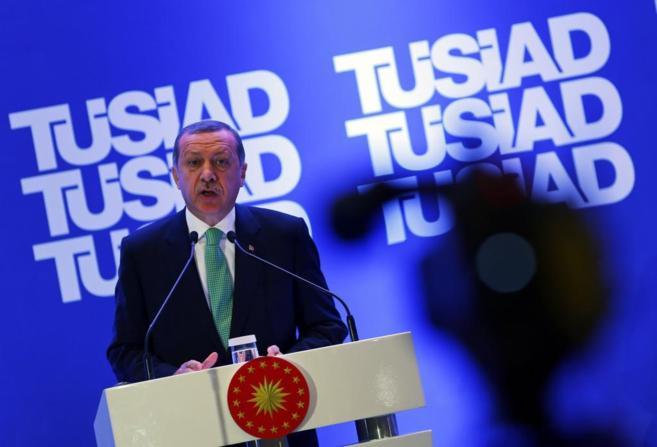 Erdogan, durante su rueda de prensa de este domingo.