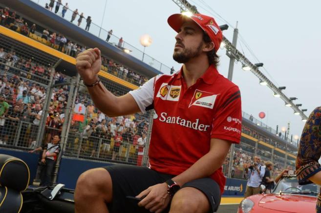 Alonso, en momentos previos a la carrera.