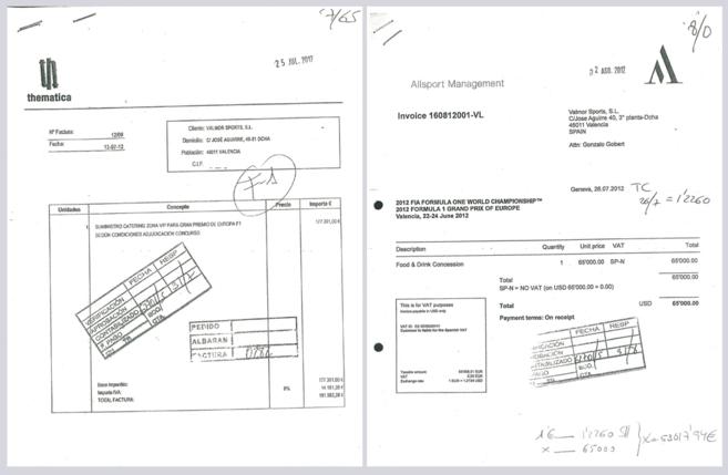 Dos de las facturas de los gastos públicos en la Fórmula 1.