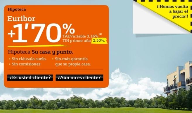 Anuncio publicitario de la nueva hipoteca de Bankinter.