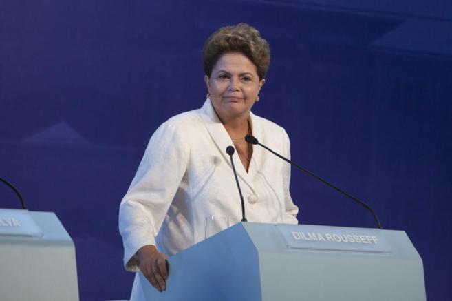 Dilma Rousseff durante el último debate televisivo para las...