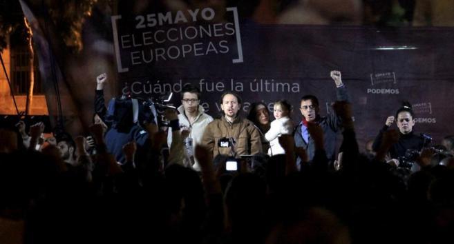 Los principales dirigentes de Podemos, con Pablo Iglesias en el...
