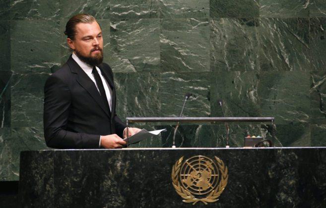 Leonardo DiCaprio, justo antes de iniciar su intervención.