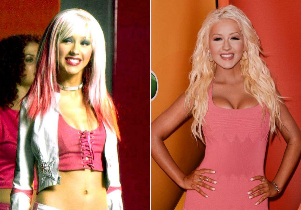 Christina Aguilera (33): A pesar de que ella no se ha pronunciado nunca acerca de si se ha operado o no los pechos, es evidente que comparando las fotografías, del antes y el después, la cantante se ha sometido a una operación para aumentar su talla de sujetador.