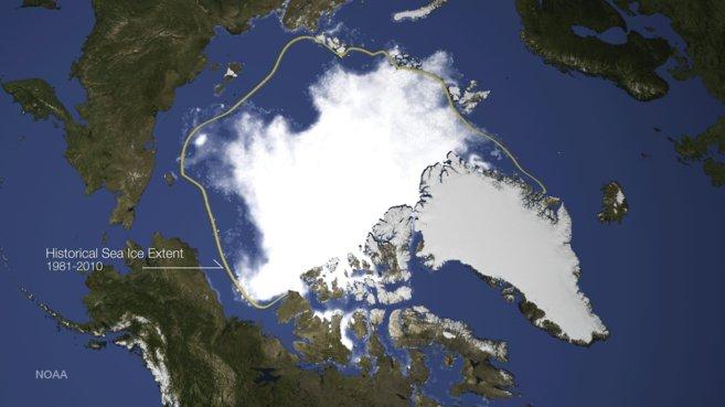 Extensión de hielo registrada el 17 de septiembre comparada con la...