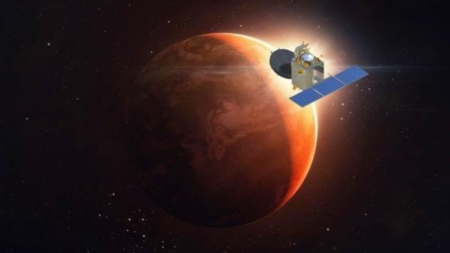 Recreación de la llegada de la sonda Mangalyaan a Marte.