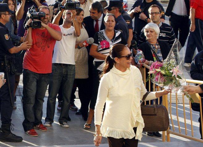 Isabel Pantoja, en la Ciudad de la Justicia de Málaga antes de una de...