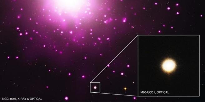La galaxia enana M60-UCD1, ampliada en el recuadro, cerca de la...