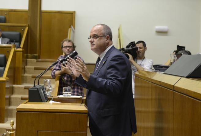 El presidente del PNV en Gipuzkoa Joseba Egibar en el Parlamento...