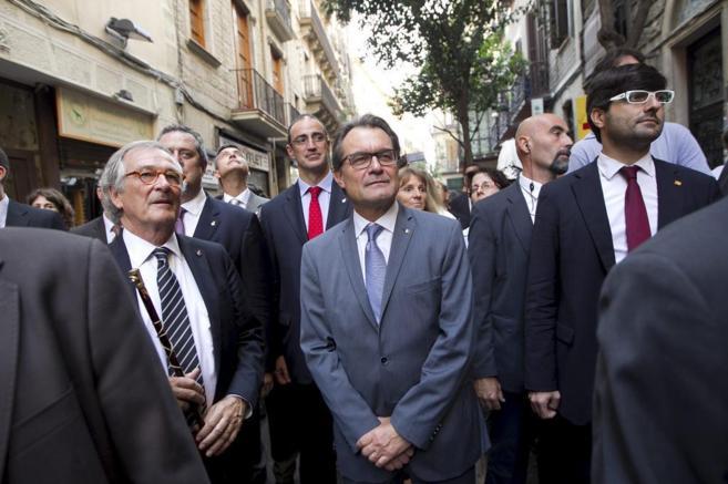 El alcalde de Barcelona  Trias y el presidente  Artur Mas en las...