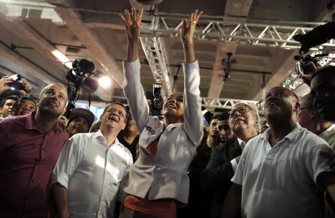 La candidata Marina Silva, en un acto de campaña esta semana.