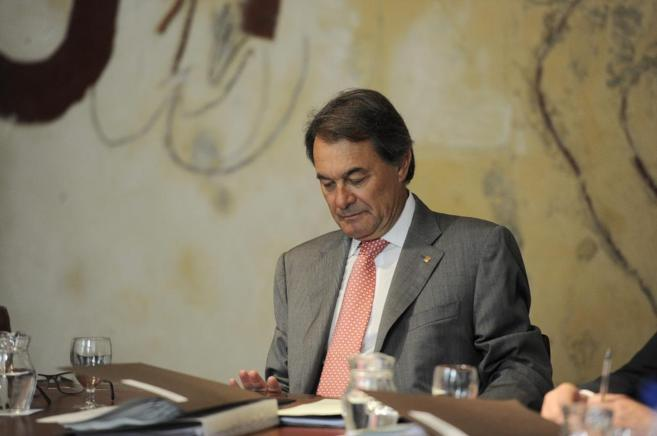 El Presidente de la Generalitat Artur Mas en una reunión del Govern.