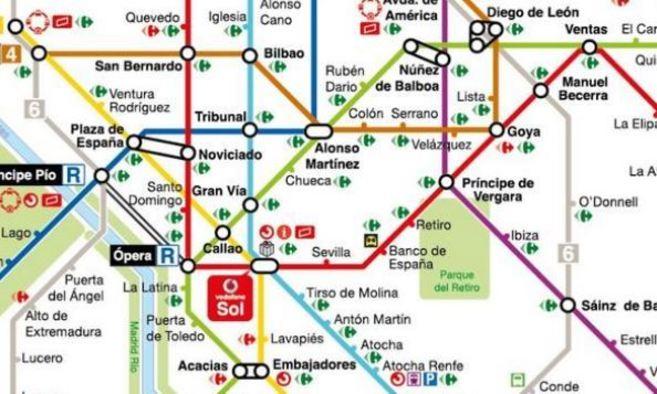 Plano de Metro Madrid en el que aparecen marcados los distintos...