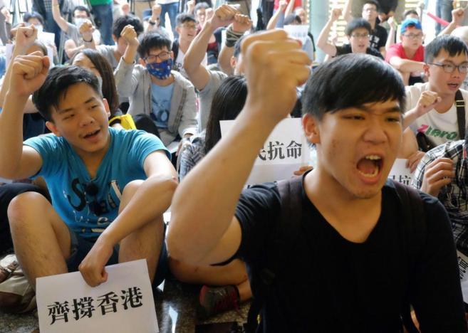 Estudiantes taiwaneses se manifiestan contra el Gobierno chino en...