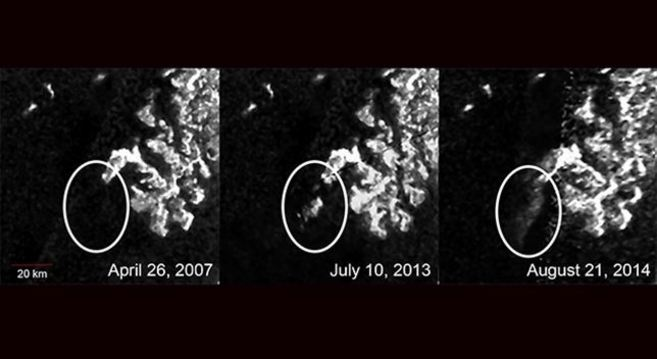 Evolución del mar de hidorcarburos en Titán.